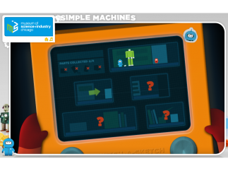 Four simple machines are used, one for each level.