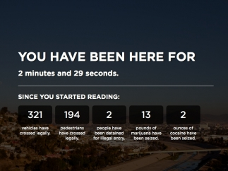 The homepage provides continuously-updated statistics about what's happening at the U.S.-Mexico border.