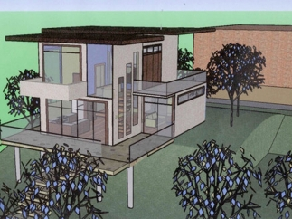 Example of a modern house with nature