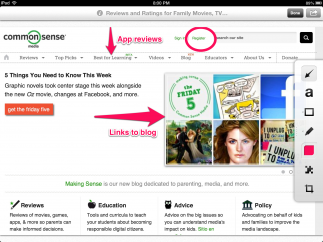 Kids can easily mark up Web pages by drawing shapes around areas to draw attention to them or adding text.