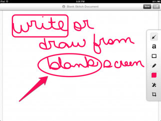 Kids can start from a blank screen and add text, shapes, and handwritten notes.