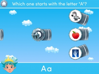 Release a fish when the launcher is pointed at the picture that correctly answers the question.