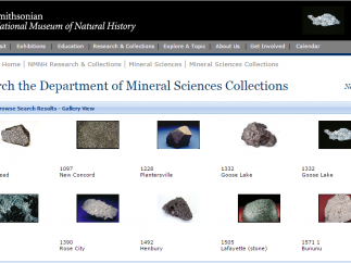Kids can browse detailed pictures and descriptions of the NMNH Mineral Science Collection.