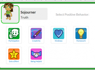 Teachers can select a student from their class and quickly click on either a positive or negative behavior.
