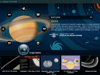 The Kids section offers facts and images about each planet.