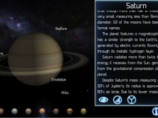 Each planet's moons can be explored, and interesting facts about each planet are included with the images.