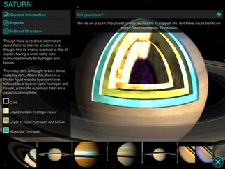 Graphics show the internal structure of each planet.