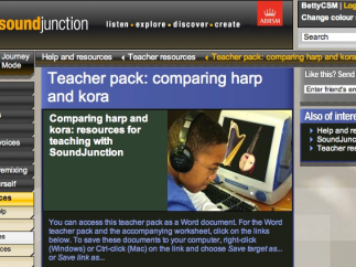 The teacher resource section includes materials on specific topics, such as comparing the harp to the kora, a traditional African instrument.