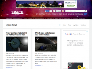 Up-to-date space news is packed in along with advertisements.