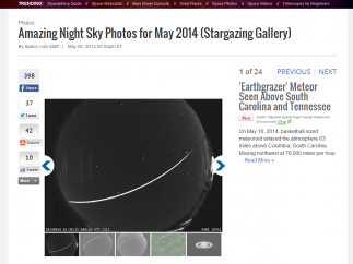 Photos show images of recent space events and views of the night sky.