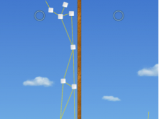"""Right-side construction failed in """"Double Trouble"""" level with no marshmallows remaining. Bottom leftmost spaghetti connector is colored red to show tension."""