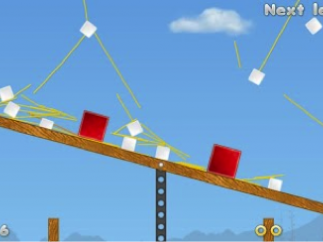 Rampage mode drops red blocks on successful structures.