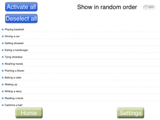 Sequences on list can be chosen individually, in groups, or randomly.