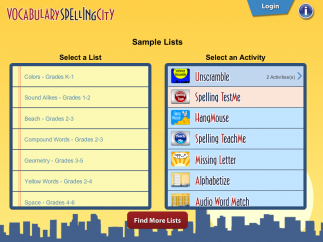 Kids find word lists and games on SpellingCity's home page.