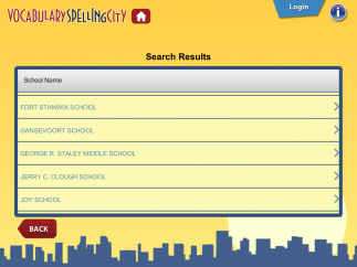 Kids can search for custom word lists by entering a username, teacher or parent name, or zip code; zip code search results show area schools and teachers with SpellingCity web accounts.