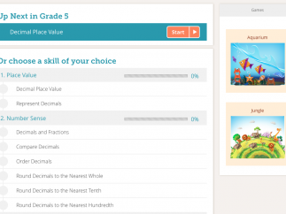 The student homepage provides a list of grade-level concepts to practice.