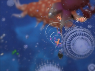 Players make decisions while navigating the cell stage of Spore.