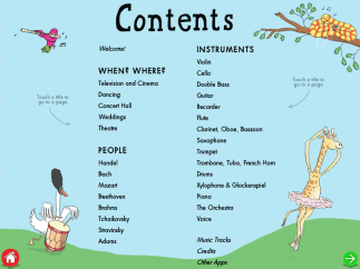 Kids can navigate to a Welcome page and content pages showcasing composers, instruments, and places were classical music is heard.