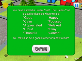 Before the questions, the app starts by teaching the four zones.