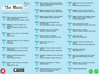 Kids can hear 28 classical compositions examples; some are full-length, others are 3-minute excerpts.