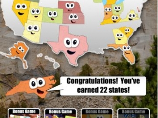 The United States map fills as kids earn states by answering questions.