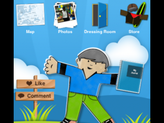 The main menu presents users with options to create or explore other users' photos.