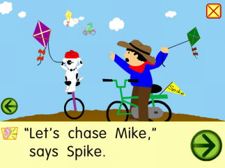 The full-text story in the silent 'e' lesson demonstrates the app's colorful graphics, 'say it' button, and flexible navigation.