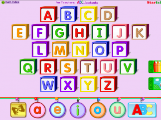 "Beginner activities are organized by letter with an extra set of vowels to introduce ""long"" and ""short"" ones."