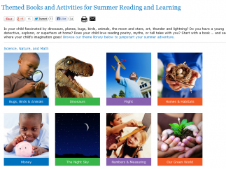 Books and activities are organized by theme.