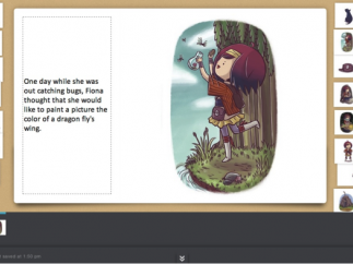 Straightforward story editor makes it easy to add original text and arrange artwork.
