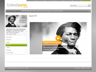 Another SyncTV example highlighting the nonfiction text, Narrative of the Life of Frederick Douglass.