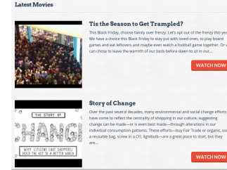 Engaging videos discuss issues of consumerism and sustainability.