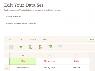 Data sets can include text, images, and symbols.