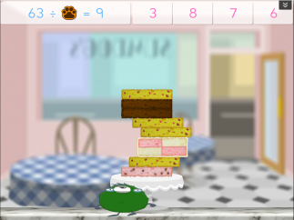 Different kids might be playing the same game, like cake monsters, but the questions at the top are customized for each student.