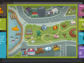 Each place on the map gives kids a different game where they can practice their assigned skills.