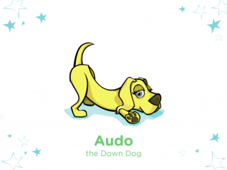 Super Stretch voice-over tells a story about Audo, who demonstrates the downward facing dog.