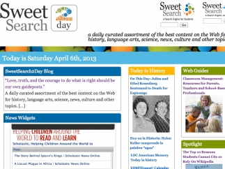 The site also links to SweetSearch2Day, which offers different daily content on history and other topics.