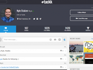Tackk profiles allow users to see feeds, Tackks, recent activity, and messaging options.