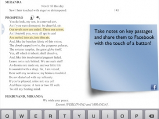 When annotating within the text of the play, students add sticky notes to the sections they're referencing.