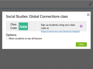 Students can register without an email address and use your unique class code to join your class.