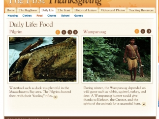 Cultural comparisons between the Pilgrims and Wampanoag, here focusing on food