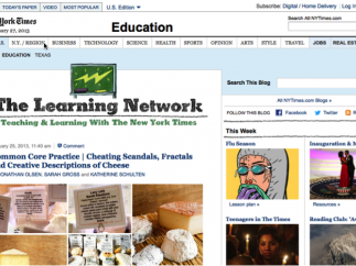 Homepage of The Learning Network.