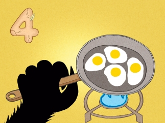 Help the beast make his breakfast by cracking four eggs into the frying pan.