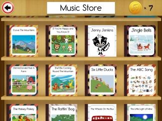 Spend coins at the music store; listen to mostly over-produced versions of popular kids' songs.