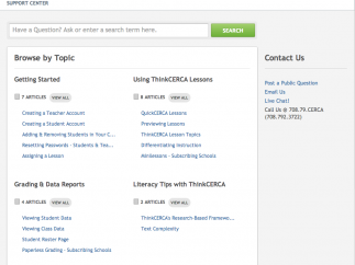 The Teacher Resource Center offers a FAQ section grouped by popular topic.