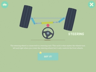 Kids tap to see how a steering wheel works.