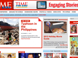 The TIME for Kids homepage features global and U.S. news.