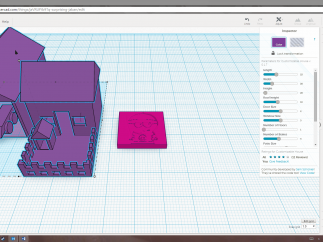 Some of the custom shape tools created by Tinkercad's community can be seen in the right-hand panel.