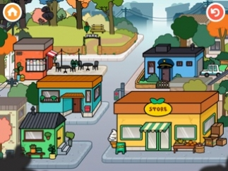 Toca Town includes a park, restaurant, store, police station, and two homes.