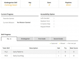 Teacher view progress, manage accounts, and set special accessibility features in a web-based dashboard.